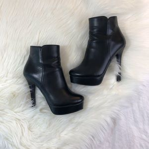 Charles David Platform Leather Ankle Booties
